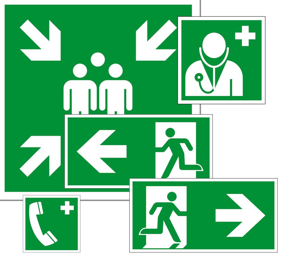 Rettungszeichen Kennzeichen und Hinweise zur Orientierung und Ersten Hilfe